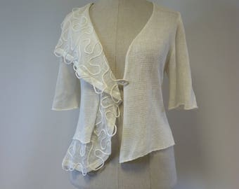 Special price. Handmade off-white linen cardigan, L size.