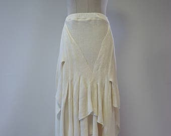 Boho long off-white linen skirt, M size.