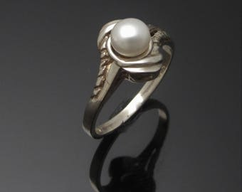 ON SALE - Unique Pearl Ring - Silver freshwater pearl ring handmade in Ireland