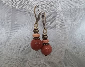 PE36 - Earrings bronze and gem stone bead