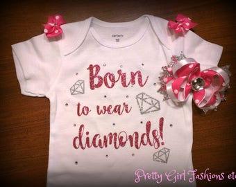 Born to wear diamonds 18m onesie  bodysuit and bow. Bling sparkle glitter