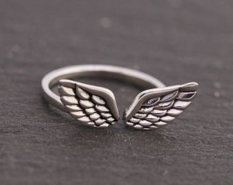 Sterling Silver Angel Wings Ring|Sterling Silver Open Ended Ring|Angel Wings Ring|UK Size N or US Size 7|Silver Wing Ring|Gift for Her