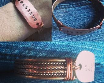 Copper stamped bracelet