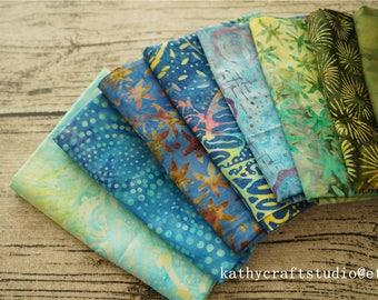 Bali Assortment of mix color theme Fat Eighth Bundle - 10 Different Pieces - Hand Dyed Bali Batik Cotton Quilt Fabric