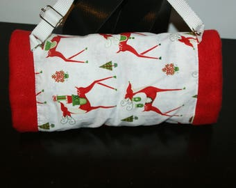 Sleeve made from fleece and Red cotton with cute red Elk.