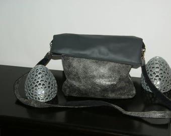 speckled gray leatherette double gray velvet shoulder bag.