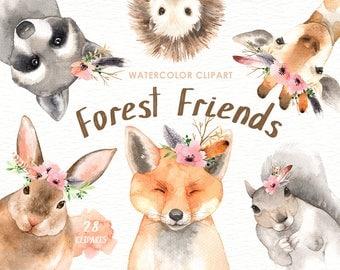 Forest Friends Watercolor Clip Art, Woodland Animals, Kids Clipart, Boho Clipart, Nursery Decor, floral, wreath, deer, rabbit, fox, giraffe