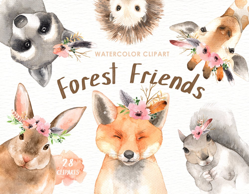 Forest friends watercolor clip art woodland animals kids for Animal decoration