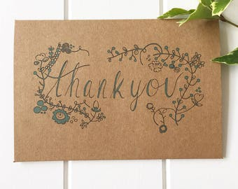 Blue Rustic Thank you Note Cards - Wedding Thank you Cards - Thank you Notes - Thanks - Thankyou Cards - Handmade Thank you - Thank you Card