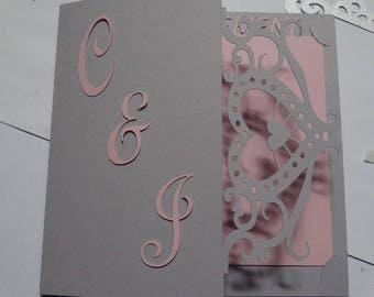 Thank you card lace heart initial