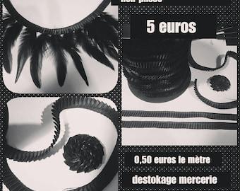 10 meters of pleated black satin ribbon