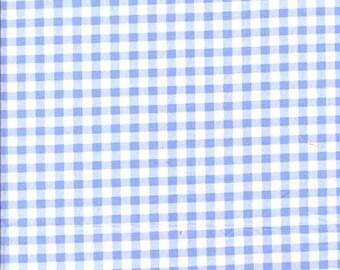 Coupon de Tissu coton à carreaux ciel et blancs