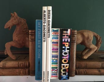 Horse Bookends, Handmade, Clay and Wood