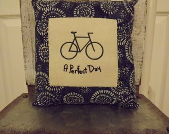 """A Perfect Day Small Bike Pillow  Approximately  8 1/2"""" X 8""""   Machine Embroidered - FREE SHIPPING!"""