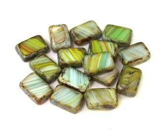 Yellow Green Aqua Brown streaked White opaque w/ picasso 12 x 8 x 4mm rectangle. Set of 8, 15 or 30.