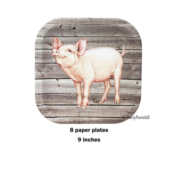 pig plates, farm birthday party paper plates, barn wedding, piglet ...