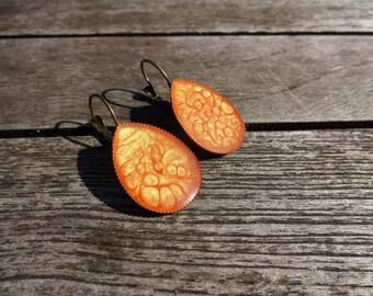Drop earrings * orange Prism * effect enamel