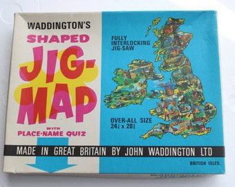 vintage jig-map BRITISH ISLES united kingdom map puzzle wall hanging poster waddington's made in great britan jig map