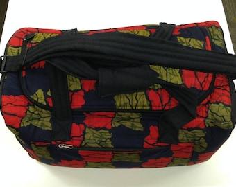 Padded African fabric travel bag, weekend bag, duffel bag handmade, overnight bag