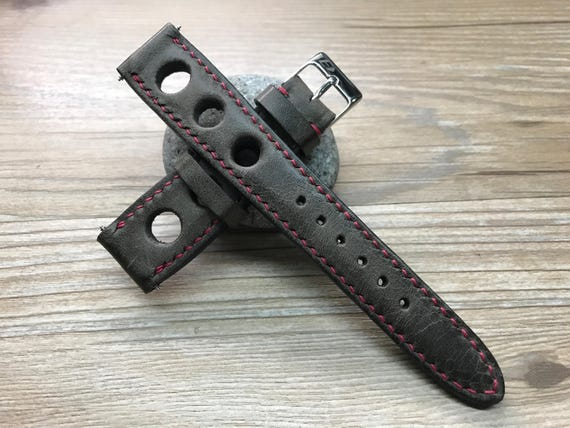 Leather watch band, Handmade Leather watch strap, Dark Brown, Rally Watch band, Racing watch band for Rolex - 19/20mm, Free Shipping