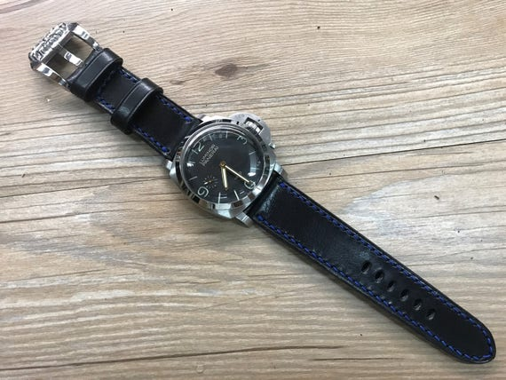 Leather watch band, handmade, Black, leather watch strap, 26mm watch Band for Panerai, Chrome Heart, 24mm lug, PAM 44mm, Free Shipping