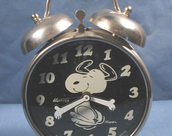 Vintage 1970 Peanuts Snoopy Metal Alarm Clock - Made in West Germany