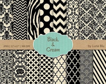 """SALE 50%OFF Black and Cream Digital Paper: """"Black and Cream"""" patterns, backgrounds for scrapbooking, cardmaking, invites, craft supplies"""