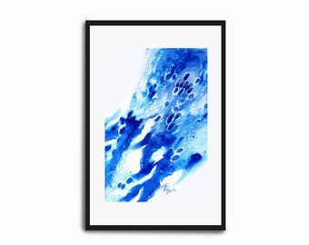 "Abstract Art Print ""Winter Flowers"" Watercolor Blue Splatter Abstraction Home Decor"