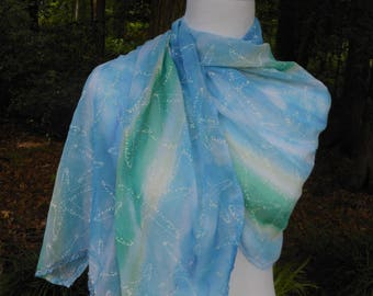 ladies summer evening shoulder wrap, blues and greens, handmade scarf with starfish design, day to evening lightweight shawl, gift for her
