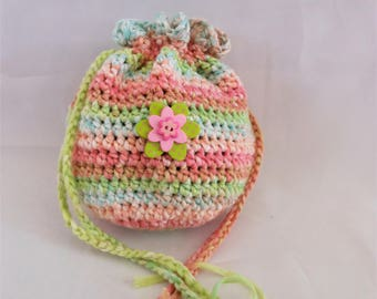 drawstring bag, crochet purse for girls, Easter or birthday gift from Mom and Dad, knit handbag of green pink blues
