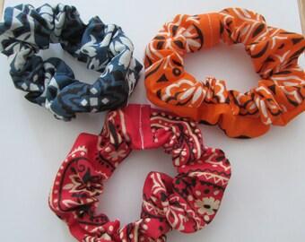 Bandana Scrunchies, Set of 3 Scrunchies