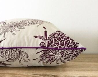 Cushion Cover Purple Pineapple Taupe Tropical Cushions Sham Pillow Euro Home Decor Coastal Island Polynesian