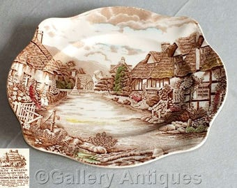 "Vintage Johnson Brothers Olde English Countryside Brown Multicolour 12"" Earthenware Meat Serving Platter c.1960's"