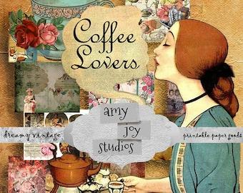 Coffee Lovers  Digital Journal Kit  Printable Junk Journal   Ephemera vintage  Vintage Victorian journal  DIY  Smashbook  mini album