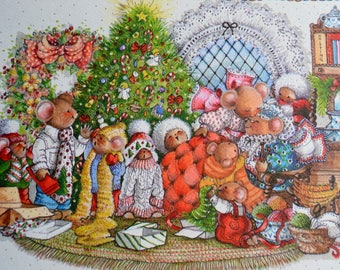 Vintage Christmas Card - Christmas Morning Mouse Family - Unused