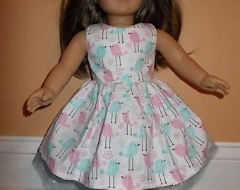 So Cute Pink & Blue Little Birdies Dress/Clothing for American Girl Doll Clothing 18 in Doll