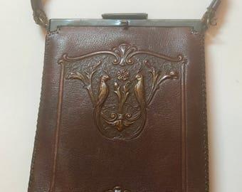 Lovely Art Nouveau Tooled Leather Purse
