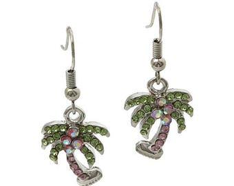 Palm Tree Rhinestone Dangle Earrings