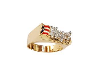 Lee170M-14K 10mm 14K Gold Pave-cut Finished National Flag Name Ring