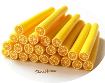 x 3 polymer clay lemon cane