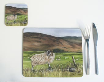 Sheep On Mountain Countryside County Home Placemat Tablemat