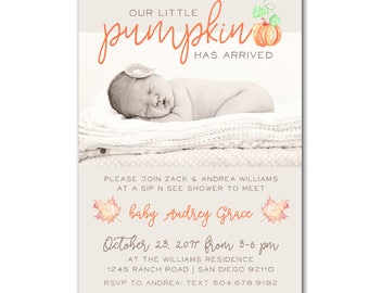 Pumpkin Sip and See Baby Shower Invitation - Printable Baby Shower Invite customized and personalized - digital file