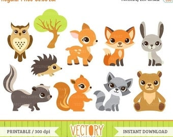 SUMMER SALE 50% OFF 10 Woodland Animal Clipart, Forest Animals, Animal Clip Art (Fox, Squirrel, Skunk, Tree, Rabbit, Owl, Bear, Raccoon, Dee