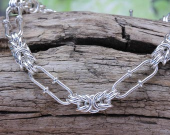 Sterling Silver Heavy Byzantine Bracelet Variation  Hand Crafted in solid 925 Silver Chain mail British Made mens womens
