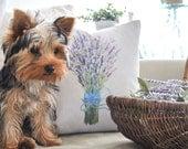 Lavender Bouquet Pillow Cover | Farmhouse Throw Pillow | Watercolor Pillow Cover | Farmhouse Cottage Decor