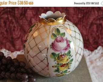 """Summer Sun Sale Antique Porcelain 5.75"""" Ball Lamp Globe adorned with Roses and Gold Gilding - Replacement Shade for Oil Lamp"""