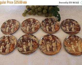 SALE Beautiful Set of 8 Italian Metalware Coasters with Folk Art Scene - Myriam of Milan