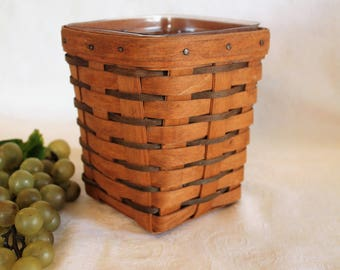 1991 Longaberger Small Spoon Basket with Plastic Liner - Heartland Collection