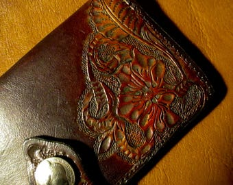 Western Hand Tooled Wallet, Credit Card, Checkbook,Cash Compartments.