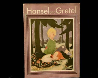 Vintage Hansel and Gretel, Illustrated by Fern Bisel Peat, Mary Perks Book, The American Crayon Co, Made in USA. Soft cover book, 1940s